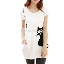 Wholesale Women Round Neck Short Sleeve Cat Prints Loose Tunic Shirt Loose White Discount