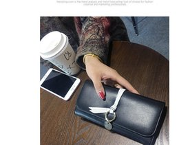 Spot the new 2017 ms han edition fashion long purse wallet contracted buckles bump color big wallet female tide