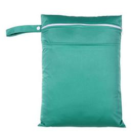 Acheter en ligne Bébé tissu réutilisable couche nappy-Vente en gros-PUL sac humide en peluche bébé imperméable tissu sac à couches double poche fermeture à glissière bébé réutilisable bébé couches sac humide 30x40cm