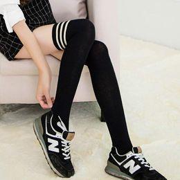 Promotion jambes sexy bas En gros-2015 Japon Style Noir Sexy façonner les bas femmes hiver sur genou jambe plus chaud fille Coton Pantyhose étudiant Stocking