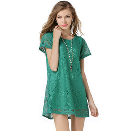 Wholesale 2017 New Fashion Summer Women Plus Size O-neck Loose Short Sleeve Lace Mini Dress 3XL 4XL Woman Casual Dresses