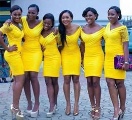 Wholesale Satin Bright Orange Short Dresses - Bright yellow 2016 african bridesmaid dresses off shoulder lace short sleeves wedding guest dress zipper back sheath short mini party gowns