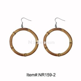 Wholesale hand made round circle ring natural bamboo root earrings