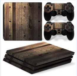 Cool Wooden Style Full Set Vinyl Skin Sticker Decor Decals for Sony PS4 Pro Console Skin + 2 PCS Controller Cover Skin Stickers