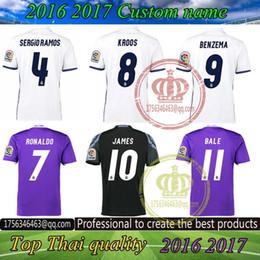 2017 Thailand Quality Real madrid soccer Jerseys New Font 16 17 RONALDO white Purple Third Black JAMES BALE RAMOS ISCO MODRIC football shirt