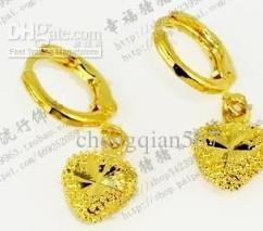free shipping fashion yellow gold heart earings