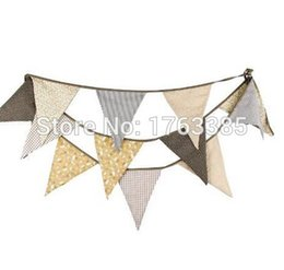 Promotion bannière de bourrage de tissu Vente en gros - Light Tan Brown Vintage Floral Bunting Fabric Banner Shabby Chic Garland Wedding Birthday Party Decoration