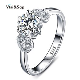 Visisap White gold color flower Rings For Women wedding Ring engagement bague cubic zirconia romantic fashion jewelry VSR072
