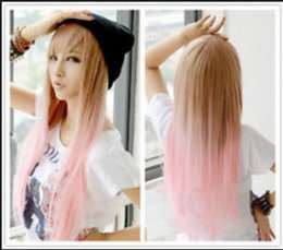 ePacket free shipping Women's Lolita Pink Mixed Color Straight Anime Cosplay Lolita Hair Long Wig