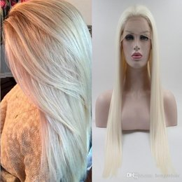 Half Hand Tied Lightest Blonde Lace Front Wigs High Temperature Fiber Hair Deep Wave Glueless Synthetic Lace Front Wig For Women