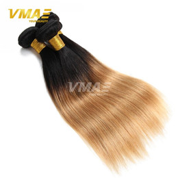 Canada 7A Peruvian Virgin Hair Stright Weaves 3pcs / lot Ombre peruvian Hair Bundles Blonde 1b 27 Straight 10-26 inch Wave remy Ombre Human Hair Offre