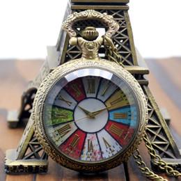 Mujer del reloj del collar en Línea-Wholesale-Xmas Regalo Antiguo Vintage Retro Bronce Colorido Dial Roma Número De Cuarzo Reloj De Bolsillo Reloj De La Hora Reloj Colgante Hombres Mujeres P193