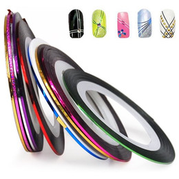 1pc Multi Mix Assorted Colors Rolls Striping Tapes Line Fashion Metallic Yarn Nail Art Patterns Decoration Wraps Sticker Highlight Manicure