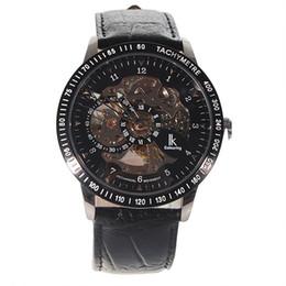 Wholesale Skeleton Manual Watch Men - Fashion Winner Black Leather Band Stainless Steel Skeleton Mechanical Watch For Men Gold Mechanical Wrist Watch Manual mechanical Watches