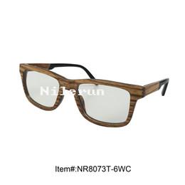 fashion square hand made zebra wood frame optical glasses