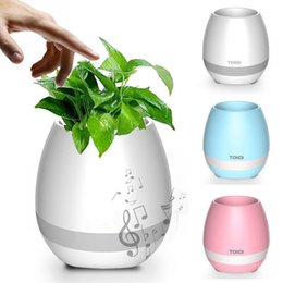 New Arrival Touch Wireless Bluetooth Flowerpot Speaker with LED Multiple Colors Home Smart Plant Office Mp3 Music Player