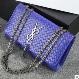 Promotion chaîne grand sac 2017 Fashion Femme Big Cowhide Sacs Ladies Luxury Handbag Femmes Plaid Chaîne Sac D'épaule Grand Quilted Black Bolsas Femmes