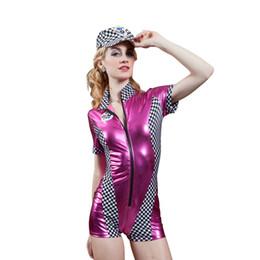Wholesale New High Quality Racing Driver Auto Salon Girls Costume Leather Satin Boxer Shorts Design Uniform Car Club Wear Suit Stage Party