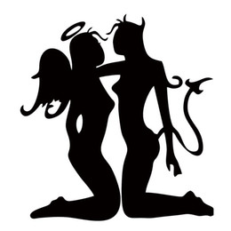For Sexy Women Wtih Men Angel Interesting Decal Vinyl Car Stickers Decorations Bumper Car Decals Car Styling