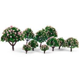 Цветковые деревья для продажи-Оптово Новые поступления 2015 HO Масштаб модели Деревья 5 Размеры 10шт модель дерева с розовым цветком для железной дороги Scenery / dioramax Свободная перевозка груза