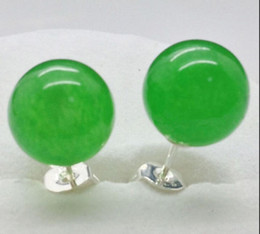 New 10mm Natural Green Jade Round Beads Silver Stud Earrings