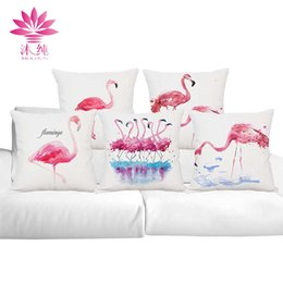muchun Brand Flamingo Feature Christmas Cotton&Linen Sofa Throw Pillow Cover 45*45 cm Halloween Extra-Thick Decorative Pillow Case