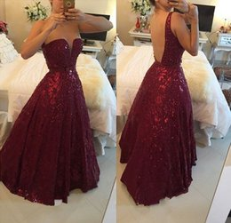 Wholesale 2017 Barbara Melo A Line Burgundy Sweetheart Crystal Prom Dress with Beadings Open Back Floor Length Evening Gowns