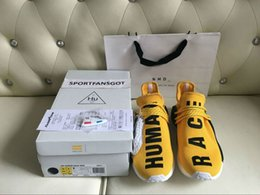 Wholesale Yellow Pharrell Williams X NMD HUMAN RACE Top Best Originals Quality REAL BOOST Bottom With Nipples Men Running Shoes Box Receipts Handbags