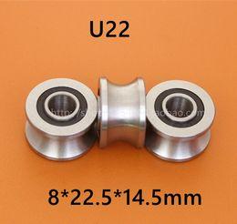 10pcs high quality U22 ABEC-5 8mm V   U groove pulley bearings 8*22.5*14.5*13.5 mm U groove roller wheel ball bearing
