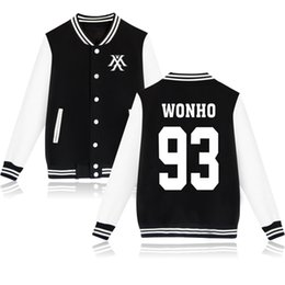 Coton ouaté korean veste de baseball à vendre-2016 Youpop KPOP Veste coréenne de bombardier Veste de base-ball Monsta X Sweatshirt Vêtements de Hoody de Kpop I.M JOOHEON MINHYUK SHOWNU