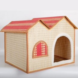 Wholesale 2016 New Product Bamboo Weaving Kennel The Cat Litter House Pets Articles Summer Bamboo Weaving Pets Nest