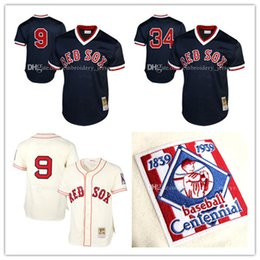 Wholesale 100 Stitched Jersey Mitchell Ted Williams Baseball Jerseys Boston Red Sox David Ortiz Cooperstown Collection Batting Practice Jersey