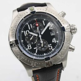 Wholesale - Luxury Brand Fine Quality Chronograph Blue Dial Watches Black Leather Belt Silver Skeleton Three Men's watch