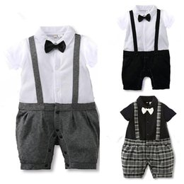Baby Gentleman Suit Boys Romper Bow Tie Suits New Spring Summer Jumpsuit Newborn Costume Infant Clothes Roupas JY0224
