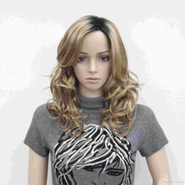 New super fashion charming health light strawberry blond with dark brown root ombre top quality curly long wig