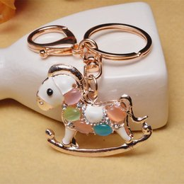 Wholesale Bags Buttons Keychains For Lady Beautiful Gem Horse Keys Chain Accessories Wholesale 2017 New Arrival Free Shipping