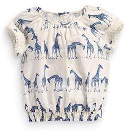 T-shirt de nouveauté de fleur de filles Le plus jeune T-shirt de short de girafe de bébé 100% à partir de girafe haute fabricateur