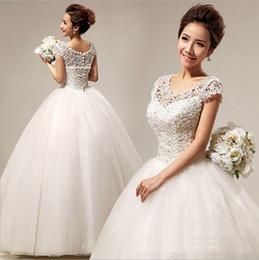 Brand New Wedding Dresses Gorgeous Ball Gown Cap Sleeves Princess Formal Dress White Ivory Vestidos De Novia Elegant Bridal Gown