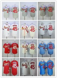 St. Louis Cardinals Retro 45 Bob Gibson Jersey Baseball Cooperstown Vintage 1967 Flexbase Cool Base Pullover Button White Grey Blue Red