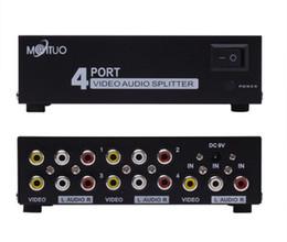 Promotion amplificateur vidéo rca 4 ports 1 en 4 sorties 3 RCA AV audio vidéo TV Box HDTV DVD PS 3 Splitter amplificateur