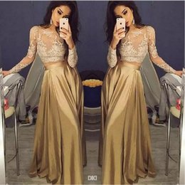 Elegant Lace Long Sleeve Gold Two Pieces Prom Dresses 2017 Satin Cheap Prom Gowns Sheer Golden Party Dress