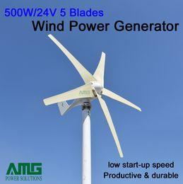 Promotion énergie ups AMG 500w générateur de turbine à énergie électrique générateur d'énergie gratuit 12v ou 24v, 5 pales, faible démarrage pour usage résidentiel