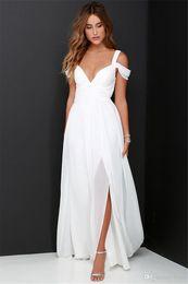 Split Chiffon Beach Wedding Dresses 2017 Cheap Floor Length Off Shoulder White Ruched Backless Garden Bridal Gowns