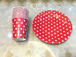 Wholesale Red Polka Dots Paper Cups Paper Plates for Wedding Party Decoration Supplies people use Kids Birthday Party Decoration