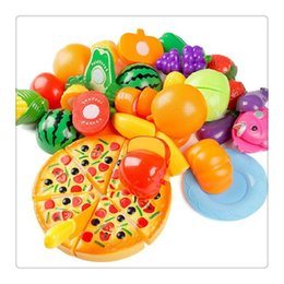 Wholesale 24Pcs Plastic Fruit Vegetable Kitchen Cutting Toy Cutting Early Development and Education Toy for Baby Kids Children
