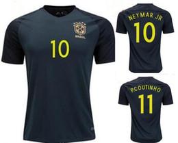 TOP quality Brazil jersey 2017 18 Soccer jersey Camisa de Dark green Neymar Oscar 3rd away jersey Adult football Shirt men Fast deliver