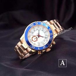 Regalo caliente de la Navidad mecánico automático maestro 2 hombre del movimiento del reloj acero inoxidable bisel azul caso de oro blanco reloj mens del dial desde esfera blanca para hombre de los relojes automáticos proveedores