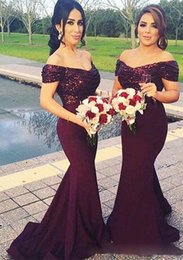 Cheap Burgundy Bridesmaid Dresses 2020 African Sexy Sequined Lace Chiffon Maid Of Honor Gowns vestidos mujer