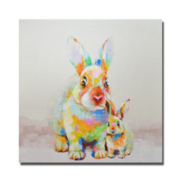 Painting for Bedroom Hand Painted Beautiful Rabbit Oil Painting Modern Animal Wall Art Home Decor No Framed