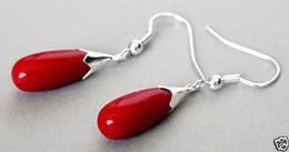 New Pair Red Coral 925 Sterling Silver Hook Teardrop Dangle Earrings